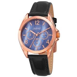 August Steiner Women's Quartz 24-Hour Indicator Multifunction Leather Black Strap Watch