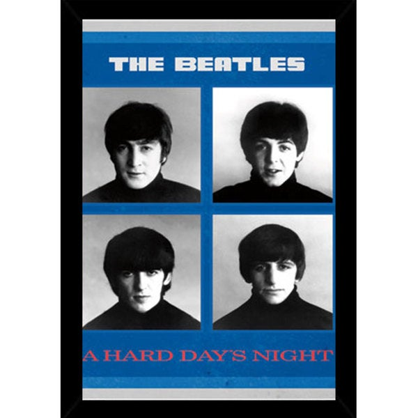 Beatles - A Hard Days Night Print (34-inch x 22-inch) with Traditional Wood Black Frame