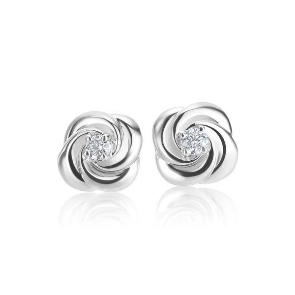 SummerRose 14k White gold 0.07 TDW Rose Bud Stud Earrings 16658225