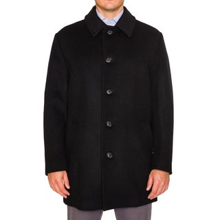 Braetan Mens Heavy Wool Blend Short Peacoat with Classic Stand Collar