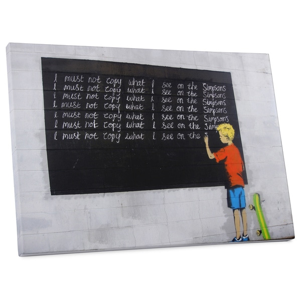 """Banksy """"I Must Not Copy"""" Gallery Wrapped Canvas Wall Art"""
