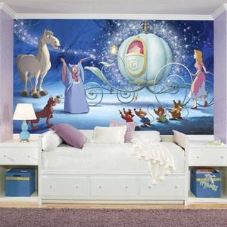 Roommates Cinderella Carriage XL Chair Rail Prepasted Mural 6-foot x 10.5-foot Ultra-strippable