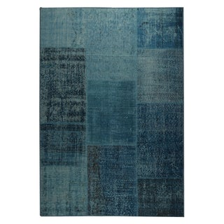 Indian Hand-printed Kony Turquoise Vintage Print Rug (2'x3')
