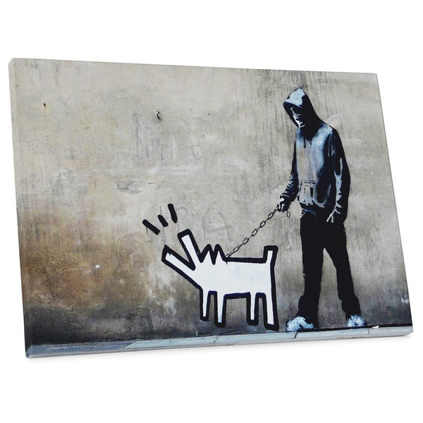 "Banksy ""Barking Dog"" Gallery Wrapped Canvas Wall Art"
