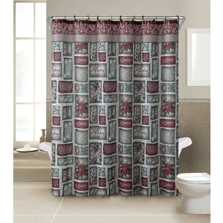VCNY Patchwork 13-Piece Christmas Themed Holiday Shower Curtain and Hook Set