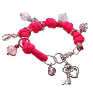 Handmade Breast Cancer Silver, Hot Pink Rhinestone Crystal Heart Angel Ribbon Dangle Charm Bracelet