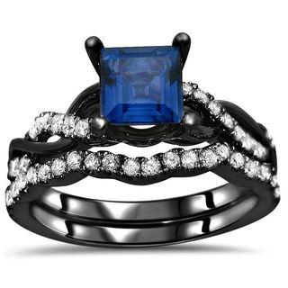 Noori 14k Black Rhodium Gold Princess-cut Sapphire 2/5ct TDW Diamond Infinity Ring Set (F-G, SI1-SI2)