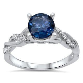 Noori 14k White Gold Round-Cut Sapphire and 1/5ct TDW Diamond Infinity Style Ring (F-G, SI1-SI2)