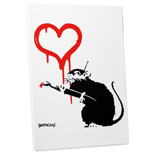 "Bansky ""Love Rat"" Gallery Wrapped Canvas Wall Art 16658672"