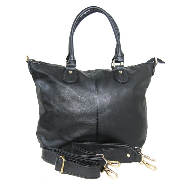 Color Block Tote Leather Handbag