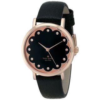 Kate Spade Women's 1YRU0583 'Scallop Metro' Crystal Black Leather Watch