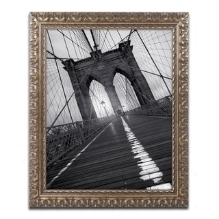 Moises Levy 'Brooklyn Bridge Study I' Gold Ornate Framed, Canvas Wall Art