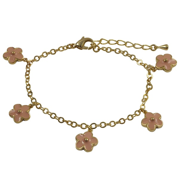 Gold Finish Children's Pink Enamel Flower Charm Bracelet