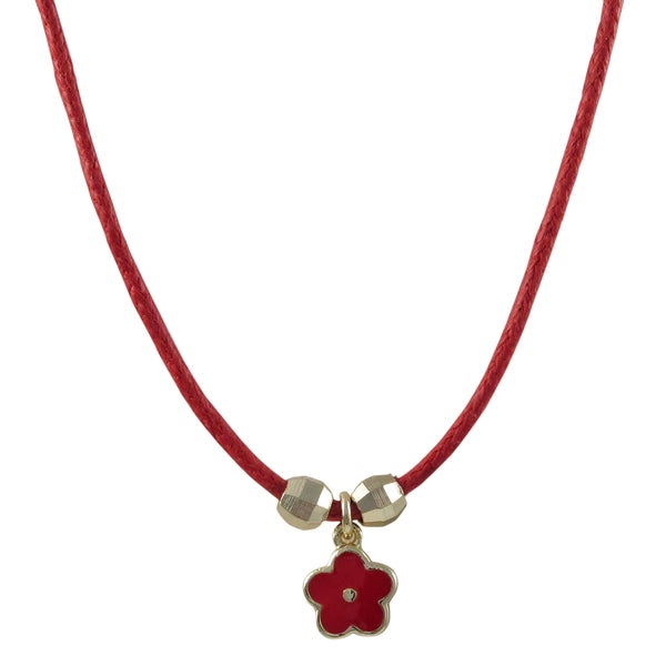 Luxiro Gold Finish Girl's Red Enamel Flower Charm Cord Necklace 16659596