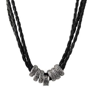 Rhodium Finish Ethnic Tribal Beads Faux Leather Braided Rope Necklace