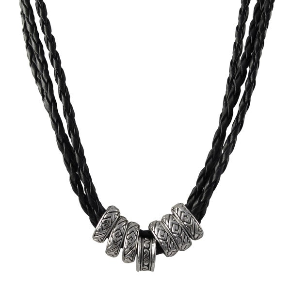 Rhodium Finish Ethnic Tribal Beads Faux Leather Braided Rope Necklace
