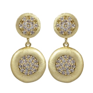 Brushed Gold Finish Pave Cubic Zirconia Circle Dangle Earrings