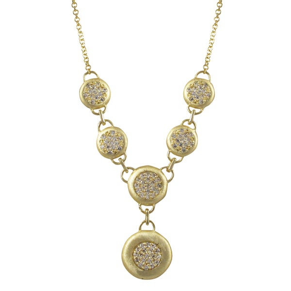 Brushed Gold Finish Pave Cubic Zirconia Circle Statement Necklace