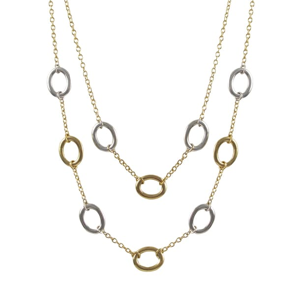 Two-tone Gold Finish Ovals Two-row Station Necklace