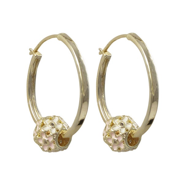 Gold Finish Crystals Pink and White Enamel Flower Hoop Earrings