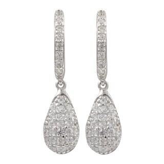 Gold Finish Sterling Silver Pave Cubic Zirconia Teardrop Earrings