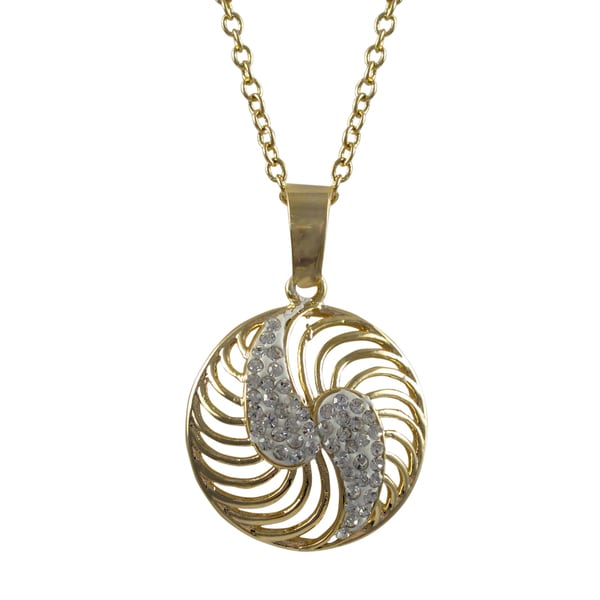Gold Finish White Crystals Spiral Circle Pendant Necklace