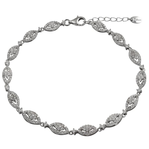 Sterling Silver Cubic Zirconia Marquise Link Bracelet