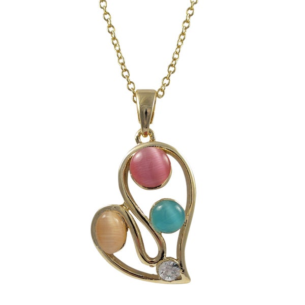 Gold Finish Multi-color Faux Cat Eye and Crystal Heart Pendant Necklace