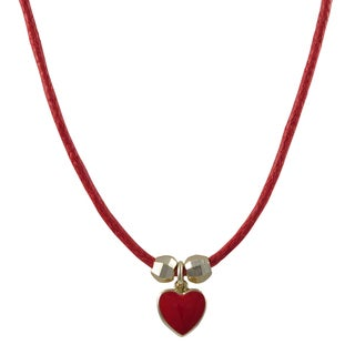 Gold Finish Children's Red Enamel Heart Charm Cord Necklace