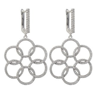Sterling Silver Cubic Zirconia Floral Circles Dangle Earrings