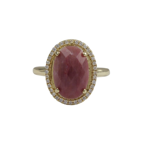 Gold Finish Sterling Silver Pink Rhodonite Semi-precious Gemstone Ring