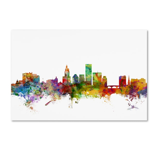 Michael Tompsett 'Providence Rhode Island Skyline' Canvas Wall Art