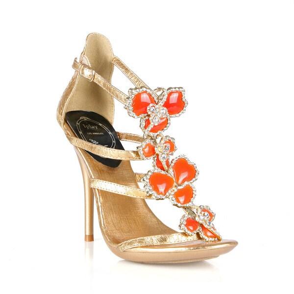 Celeste I-SA Women's Flowers Rhinestone Sling back Dressy Evening Sandals