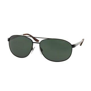 Ralph Lauren Men's RL7048 Black Metal Pilot Sunglasses