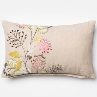 """Hand-beaded Floral Natural Down Feather or Polyester Filled Throw Pillow or Pillow Cover (13"""" x 21"""")"""