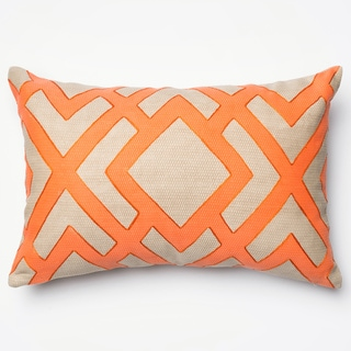 """Printed Geometric Beige/ Orange Down Feather or Polyester Filled Throw Pillow or Pillow Cover (13"""" x 21"""")"""