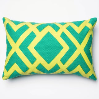 """Printed Geometric Green Down Feather or Polyester Filled Throw Pillow or Pillow Cover (13"""" x 21"""")"""