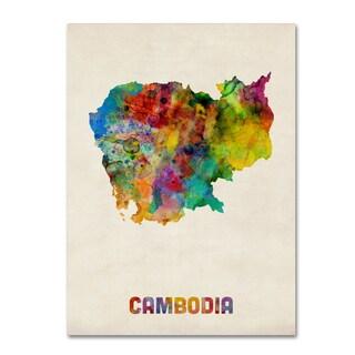 Michael Tompsett 'Cambodia Watercolor Map' Canvas Wall Art