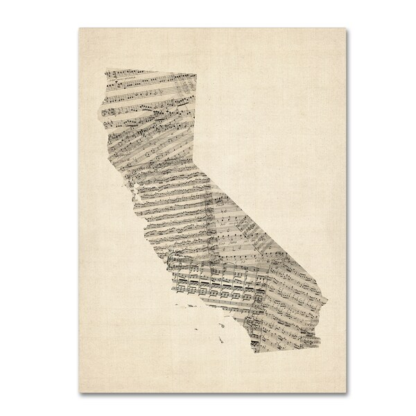 Michael Tompsett 'Old Sheet Music Map of California' Canvas Wall Art