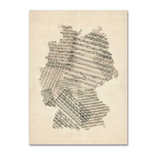 Michael Tompsett 'Old Sheet Music Map of Germany' Canvas Wall Art