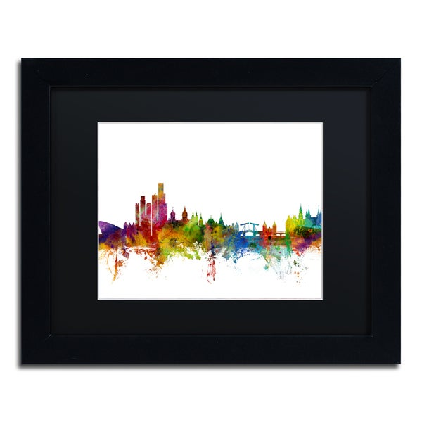 Michael Tompsett 'Amsterdam Skyline II' Black Matte, Black Framed Canvas Wall Art