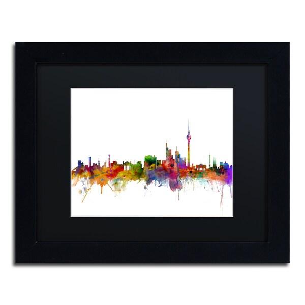 Michael Tompsett 'Berlin Germany Skyline III' Black Matte, Black Framed Canvas Wall Art