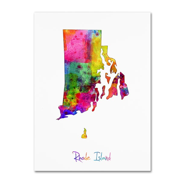 Michael Tompsett 'Rhode Island Map' Canvas Wall Art
