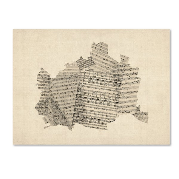 Michael Tompsett 'Old Sheet Music Map of Vienna Austria' Canvas Wall Art