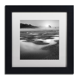 Moises Levy 'Path' White Matte, Black Framed Canvas Wall Art