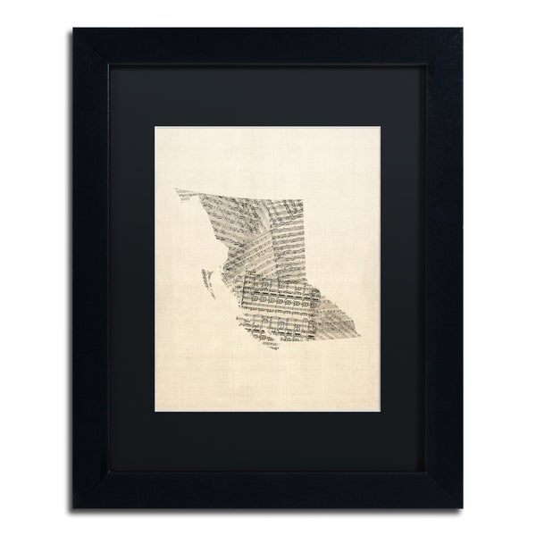 Michael Tompsett 'Sheet Music Map British Columbia' Black Matte, Black Framed Canvas Wall Art