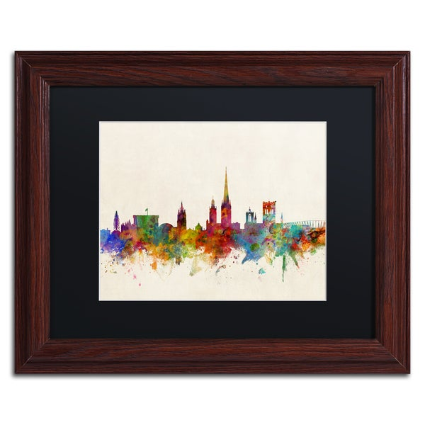 Michael Tompsett 'Norwich England Skyline' Black Matte, Wood Framed Canvas Wall Art