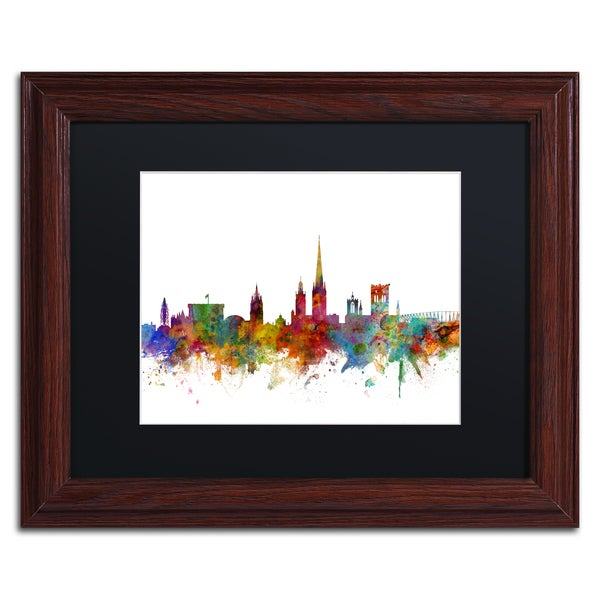 Michael Tompsett 'Norwich England Skyline II' Black Matte, Wood Framed Canvas Wall Art