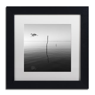 Moises Levy 'Fly' White Matte, Black Framed Canvas Wall Art