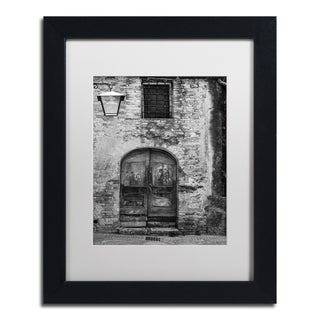 Moises Levy 'San Gimignano Door' White Matte, Black Framed Canvas Wall Art